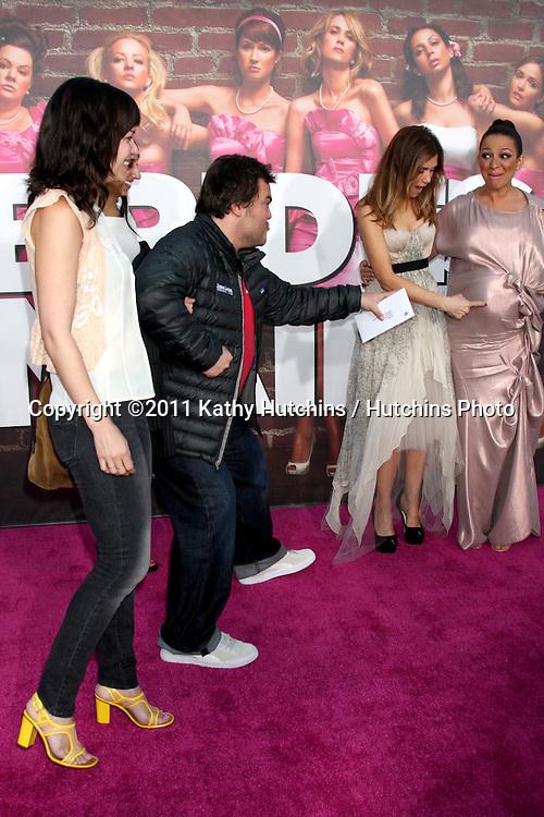 "LOS ANGELES - APR 27:  Tanya Haden, Jack Black, Kristen Wiig, Maya Rudolph arriving at the ""Bridesmaids"" Premiere at Village Theater on April 27, 2011 in Westwood, CA.."