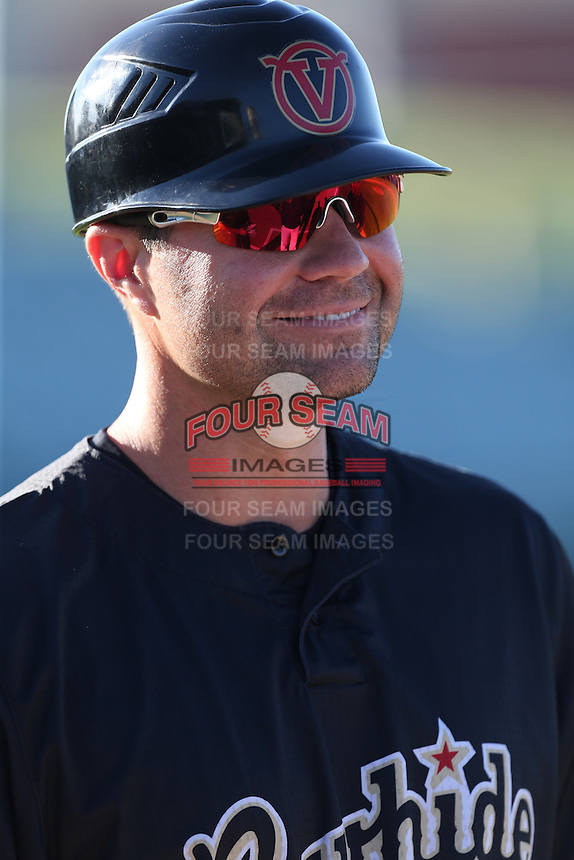 Visalia Rawhide Manager J.R. House (22) before a game against the Lancaster JetHawks at The Hanger on June 16, 2015 in Lancaster, California. Lancaster defeated Visalia, 11-3. (Larry Goren/Four Seam Images)
