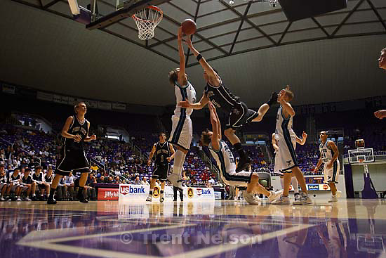 Judge vs Logan boys high school basketball 3A state basketball tournament at the Dee Events Center, Ogden.<br />