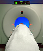 Pataint having a CAT scan test.