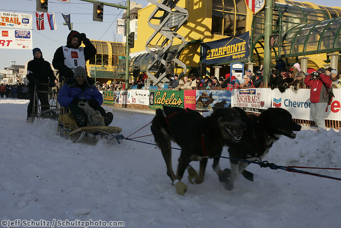 March 3, 2007  Ramie Smyth leaves 4th avenue during the Iditarod ceremonial start day in Anchorage