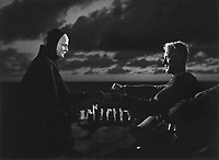 The Seventh Seal (1957)<br /> (Det sjunde inseglet)<br /> Max von Sydow and Bengt Ekerot <br /> *Filmstill - Editorial Use Only*<br /> CAP/MFS<br /> Image supplied by Capital Pictures
