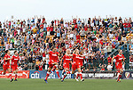27 August 2011: New York players race across the field to celebrate the victory. Western New York Flash defeated the Philadelphia Independence 5-4 on penalty kicks to win the final after the game ended in a 1-1 tie after overtime at Sahlen's Stadium in Rochester, New York in the Women's Professional Soccer championship game.