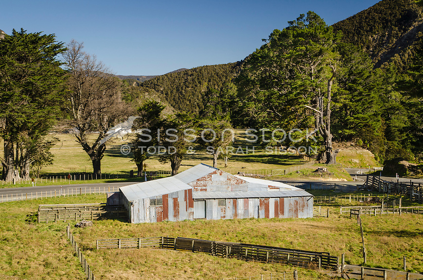 Run down wool shed near Kuripapango on the Napier Taihape Road. Hawkes Bay North Island New Zealand.