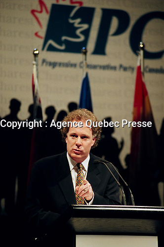 Montreal (Qc) CANADA -December 28, 1996<br /> -File Photo -<br /> <br /> Jean Charest, (then) leader of the federal Progressive Conservative Party <br /> <br /> Charest was the PC leader from 1993 to 1998 before becoming the leader of the Quebec Liberal Party.<br /> Charest was elected for the first time  April 14 2003, he is seeking a 3rd term in the  Quebec provincial election which will be held Dec 14, 2008.