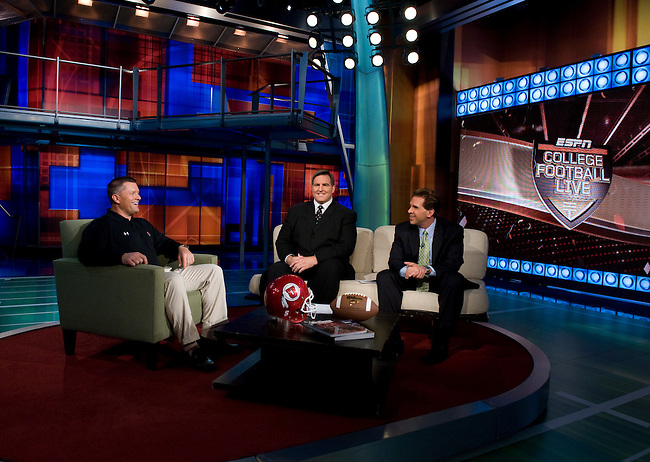 Bristol, CT: Tuesday, October 21, 2008 -- College Football Live -- (L to R) Utah Head Coach Kyle Whittingham, Trevor Matich, Erik Kuselias