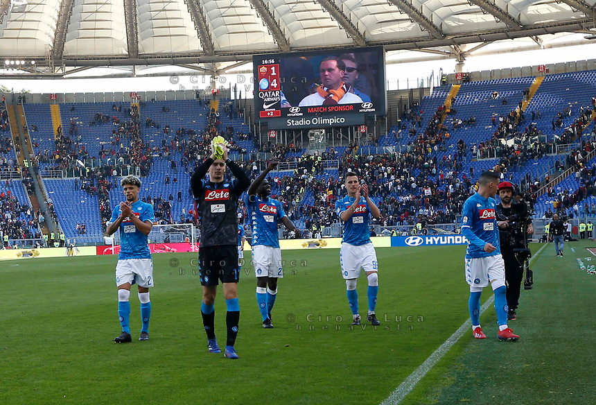 SSC Napoli's  Player celebrates after win the  italian serie a soccer match, AS Roma -  SSC Napoli       at  the Stadio Olimpico in Rome  Italy , March 31, 2019