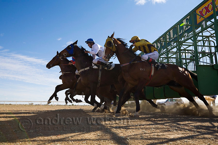 Horse racing in the Australian outback at the annual Birdsville Cup Races.  Birdsville, Queensland, Australia