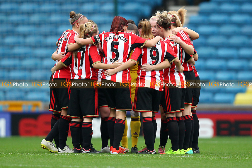 Sunderland players huddle ahead of the second half - Millwall Lionesses vs Sunderland AFC Ladies - FA Womens Super League Football at Milwall FC, the New Den, London - 26/10/14 - MANDATORY CREDIT: Gavin Ellis/TGSPHOTO - Self billing applies where appropriate - contact@tgsphoto.co.uk - NO UNPAID USE