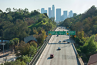 Pasadena Freeway, I-110, Downtown, Los Angeles, CA, Skyline, Traffic, (SR 110) CA 110, Arroyo Seco, Parkway, Traffic