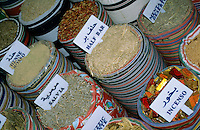 Bags of spices for sale at a market, Sharm el-Sheikh, Sinai, Egypt.