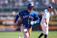 Toronto Blue Jays Cavan Biggio (8) running the bases during a Spring Training game against the New York Yankees on February 22, 2020 at the George M. Steinbrenner Field in Tampa, Florida.  (Mike Janes/Four Seam Images)