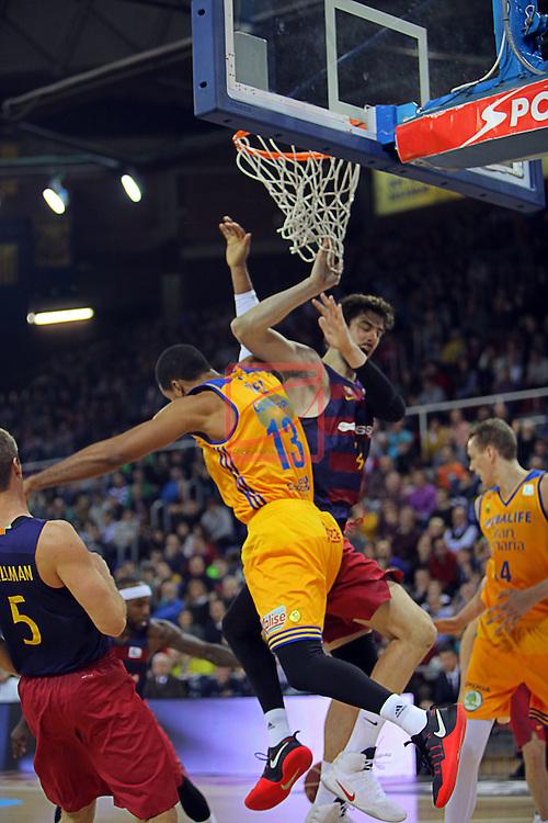 League ACB-ENDESA 2016/2017. Game: 11.<br /> FC Barcelona Lassa vs Herbalife Gran Canaria: 79-78.<br /> Eulis Baez vs Ante Tomic.