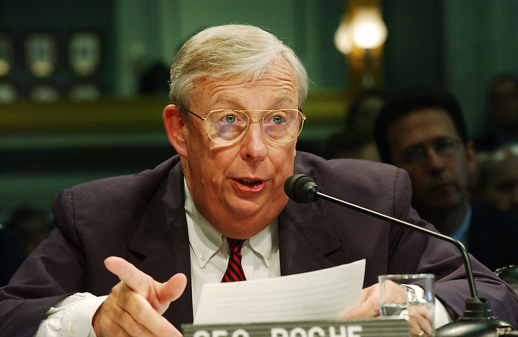 9/3/03.AIR FORCE PROPOSED LEASE OF BOEING 767 TANKERS--Air Force Secretary James G. Roche during the Senate Commerce hearing on the Air Force's proposed leasing of 100 Boeing 767 aerial refueling tankers. .CONGRESSIONAL QUARTERLY PHOTO BY SCOTT J. FERRELL
