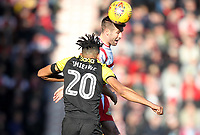 Doncaster Rovers' Matty Blair jumps with Rotherham United's Michael Ihiekwe<br /> <br /> Photographer Mick Walker/CameraSport<br /> <br /> The EFL Sky Bet League One - Doncaster Rovers v Rotherham United - Saturday 11th November 2017 - Keepmoat Stadium - Doncaster<br /> <br /> World Copyright &copy; 2017 CameraSport. All rights reserved. 43 Linden Ave. Countesthorpe. Leicester. England. LE8 5PG - Tel: +44 (0) 116 277 4147 - admin@camerasport.com - www.camerasport.com