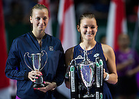 AGNIESZKA RADWANSKA (POL), PETRA KVITOVA (CZE)<br /> <br /> WTA FINALS, SINGAPORE INDOOR STADIUM, SINGAPORE SPORTS HUB, SINGAPORE, 2015