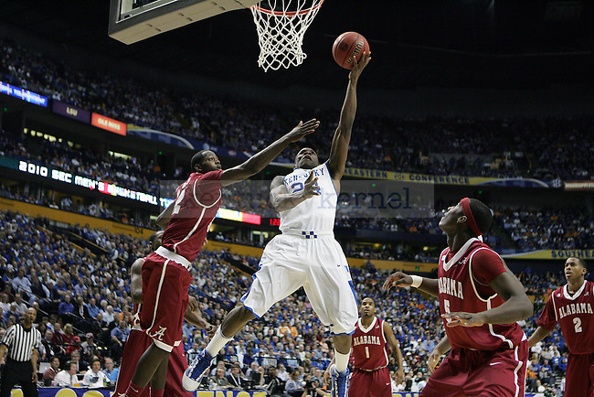Freshman guard Eric Bledsoe goes in for a dunk during the second half of the UK mens basketball team's 73-67 win over Alabama in the quarterfinals of the SEC tournament at the Sommet Center Friday, March 12, 2010. Photo by Britney McIntosh | Staff