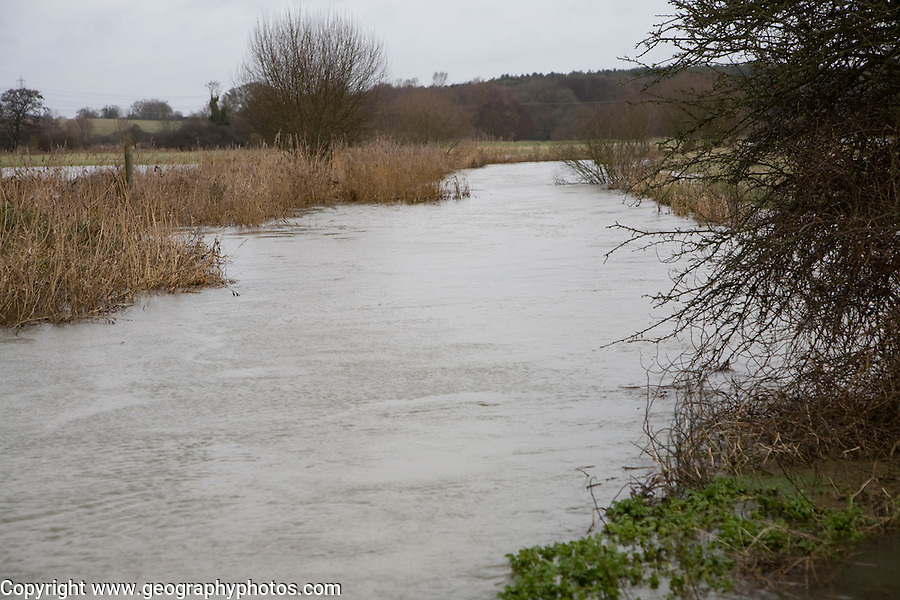 Flooding on the River Deben near Naunton Hall weir, Rendlesham, Suffolk, England, late December 2012