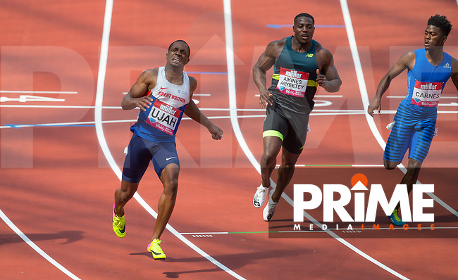 Chijindu UJAH of GBR wins the 100m Final (10.02) with Harry AIKINES-ARYEETEY of GBR in 4th (10.16) & Brandon CARNES of USA 6th (10.22) during the Muller London Anniversary Games 2017 at the Queen Elizabeth Park, Olympic Park, London, England on 9 July 2017.  Photo by Andy Rowland.
