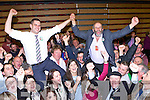 Johny and Danny Healy Rae celebrate with their supporters after they topped the poll in the Killlarney and Killorglin/Dingle Electoral areas on Saturday night