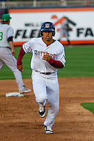 Wisconsin Timber Rattlers outfielder Trent Clark (27) races to third during a Midwest League game against the Clinton LumberKings on May 9th, 2016 at Fox Cities Stadium in Appleton, Wisconsin.  Clinton defeated Wisconsin 6-3. (Brad Krause/Four Seam Images)
