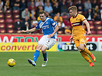 Motherwell v St Johnstone&hellip;13.08.16..  Fir Park  SPFL<br />Blair Alston is closed down by Chris Cadden<br />Picture by Graeme Hart.<br />Copyright Perthshire Picture Agency<br />Tel: 01738 623350  Mobile: 07990 594431