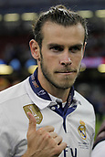 June 3rd 2017, Cardiff City Stadium, Wales; UEFA Champions League Final, Juventus FC versus Real Madrid; Gareth Bale  celebrates after their victory