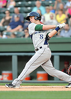 Infielder Zachary Johnson (8) of the Lexington Legends, a Houston Astros affiliate, in a game against the Greenville Drive on May 2, 2012, at Fluor Field at the West End in Greenville, South Carolina. Lexington won, 4-2. (Tom Priddy/Four Seam Images)