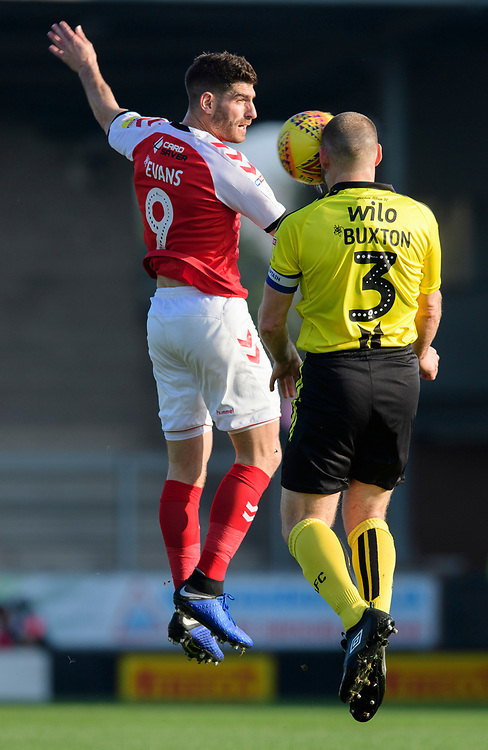 Fleetwood Town's Ched Evans vies for possession with Burton Albion's Jake Buxton<br /> <br /> Photographer Chris Vaughan/CameraSport<br /> <br /> The EFL Sky Bet League One - Saturday 23rd February 2019 - Burton Albion v Fleetwood Town - Pirelli Stadium - Burton upon Trent<br /> <br /> World Copyright © 2019 CameraSport. All rights reserved. 43 Linden Ave. Countesthorpe. Leicester. England. LE8 5PG - Tel: +44 (0) 116 277 4147 - admin@camerasport.com - www.camerasport.com