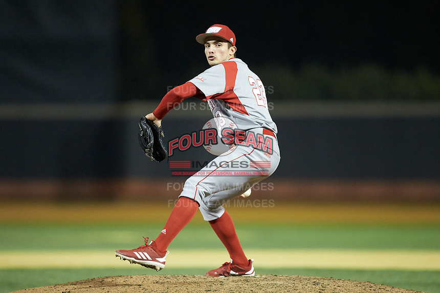 Sacred Heart Pioneers relief pitcher Julian Pedrouzo (23) in action against the Wake Forest Demon Deacons at David F. Couch Ballpark on February 15, 2019 in  Winston-Salem, North Carolina.  The Demon Deacons defeated the Pioneers 14-1. (Brian Westerholt/Four Seam Images)