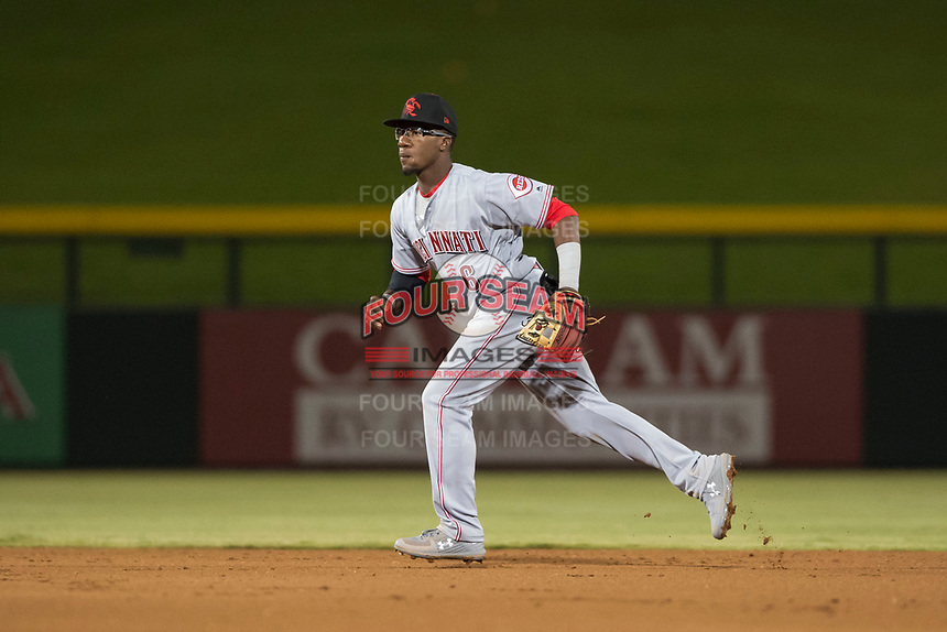 Scottsdale Scorpions second baseman Shed Long (6), of the Cincinnati Reds organization, during an Arizona Fall League game against the Mesa Solar Sox at Sloan Park on October 10, 2018 in Mesa, Arizona. Scottsdale defeated Mesa 10-3. (Zachary Lucy/Four Seam Images)