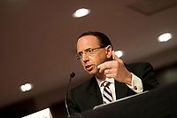 """Former United States Deputy Attorney General Rod Rosenstein testifies during a Senate Judiciary Committee hearing to discuss the FBI's """"Crossfire Hurricane"""" investigation on Wednesday, June 3, 2020.<br /> Credit: Greg Nash / Pool via CNP/AdMedia"""