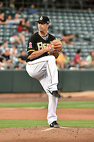 Wade LeBlanc (37) of the Salt Lake Bees delivers a pitch to the plate against the El Paso Chihuahuas in Pacific Coast League action at Smith's Ballpark on August 7, 2014 in Salt Lake City, Utah.  (Stephen Smith/Four Seam Images)