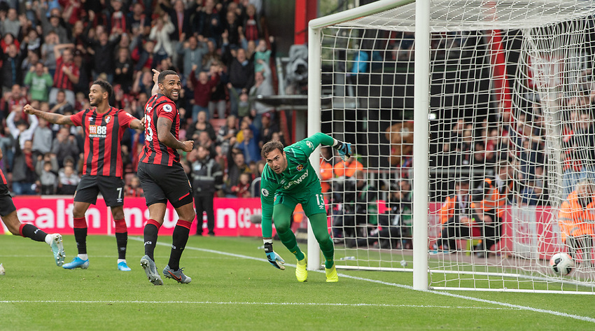 Bournemouth's Callum Wilson (centre) celebrates scoring his side's second goal <br /> <br /> Photographer David Horton/CameraSport<br /> <br /> The Premier League - Bournemouth v West Ham United - Saturday 28th September 2019 - Vitality Stadium - Bournemouth<br /> <br /> World Copyright © 2019 CameraSport. All rights reserved. 43 Linden Ave. Countesthorpe. Leicester. England. LE8 5PG - Tel: +44 (0) 116 277 4147 - admin@camerasport.com - www.camerasport.com