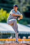 16 July 2017: Auburn Doubledays pitcher Alex Troop on the mound against the Vermont Lake Monsters at Centennial Field in Burlington, Vermont. The Monsters defeated the Doubledays 6-3 in NY Penn League action. Mandatory Credit: Ed Wolfstein Photo *** RAW (NEF) Image File Available ***