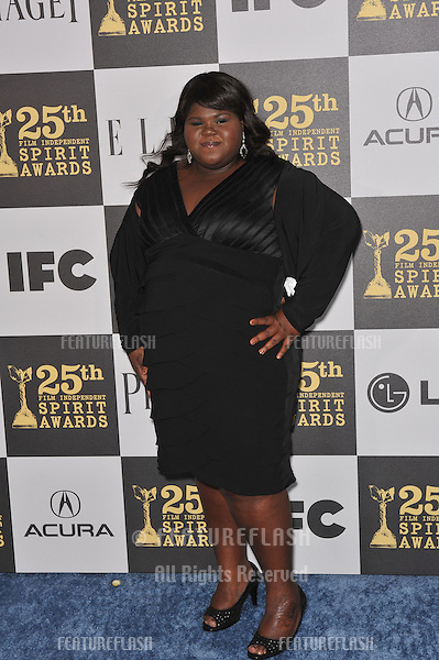 Gabourey Sidibe at the 25th Anniversary Film Independent Spirit Awards at the L.A. Live Event Deck in downtown Los Angeles..March 5, 2010  Los Angeles, CA.Picture: Paul Smith / Featureflash