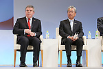 (L-R) Thomas Bach (President of the International Olympic Committee), Tsunekazu Takeda (President of the Japanese Olympic Committee) appear at a ceremony on MARCH 13, 2015 in Tokyo, Japan to announce Toyota's sponsorship of the Olympic movement. Japanese auto maker Toyota signed up to become a top level Official Worldwide Olympic Partner.<br /> (Photo by Yohei Osada/AFLO SPORT) [1156]