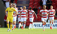 Fleetwood Town's Lewis Coyle cuts a dejected figure as Doncaster Rovers make it 1-1<br /> <br /> Photographer David Shipman/CameraSport<br /> <br /> The EFL Sky Bet League One - Doncaster Rovers v Fleetwood Town - Saturday 17th August 2019  - Keepmoat Stadium - Doncaster<br /> <br /> World Copyright © 2019 CameraSport. All rights reserved. 43 Linden Ave. Countesthorpe. Leicester. England. LE8 5PG - Tel: +44 (0) 116 277 4147 - admin@camerasport.com - www.camerasport.com