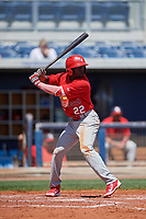 Palm Beach Cardinals left fielder Randy Arozarena (22) at bat during a game against the Charlotte Stone Crabs on April 12, 2017 at Charlotte Sports Park in Port Charlotte, Florida.  Palm Beach defeated Charlotte 8-7.  (Mike Janes/Four Seam Images)
