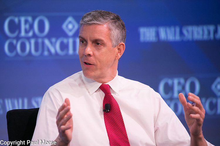 Wall Street Journal CEO Council on November 17, 2015.Secretary of Education Arne Duncan at the Wall Street Journal CEO Council on November 17, 2015.