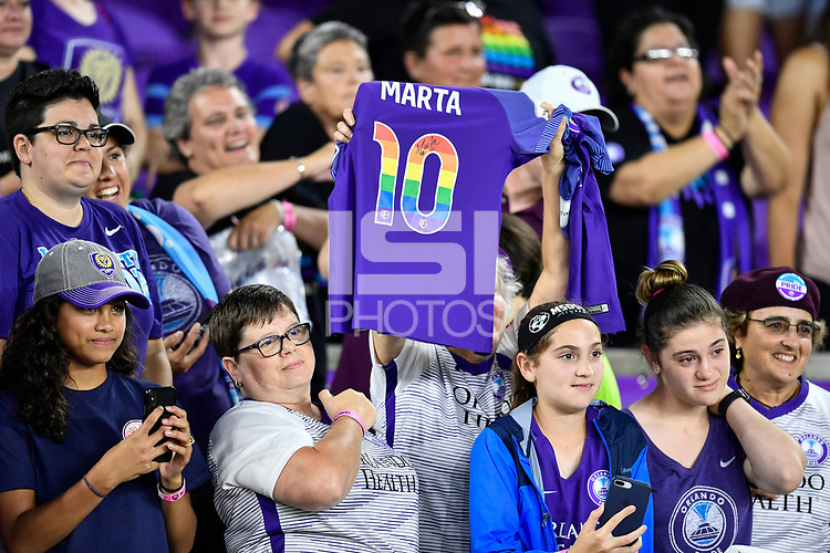 Orlando, FL - Saturday July 07, 2018: Fans during the second half of a regular season National Women's Soccer League (NWSL) match between the Orlando Pride and the Washington Spirit at Orlando City Stadium. Orlando defeated Washington 2-1.