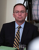 Acting White House Chief of Staff and Director of the Office of Management and Budget (OMB) Mick Mulvaney looks on as United States President Donald J. Trump participates in a briefing with senior military leaders in the Cabinet Room of the White House in Washington, DC on Monday, October 7, 2019.<br /> Credit: Ron Sachs / Pool via CNP