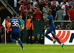 Paul Pogba of Manchester United celebrates scoring the first goal during the UEFA Europa League Final match at the Friends Arena, Stockholm. Picture date: May 24th, 2017.Picture credit should read: Matt McNulty/Sportimage