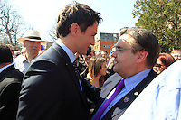 FILE PHOTO  - Liberal leader Justin Trudeau and Montreal mayor Denis Coderre (R) attend the Commemoration of the Armenian genocide 100th anniversary, March 5, 2015<br /> <br /> PHOTO : Pierre Roussel - Agence Quebec Presse