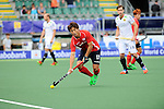 The Hague, Netherlands, June 10: Eunseong Hong #17 of Korea looks to pass during the field hockey group match (Men - Group B) between Germany and Korea on June 10, 2014 during the World Cup 2014 at Kyocera Stadium in The Hague, Netherlands. Final score 6-1 (3-0) (Photo by Dirk Markgraf / www.265-images.com) *** Local caption ***