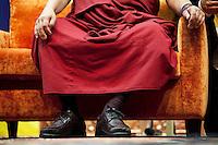 Milano: il Dalai Lama Tenzin Gyatso durante la giornata di preghiera al Forum di Assago..Milan:  Dalai Lama Tenzin Gyatso