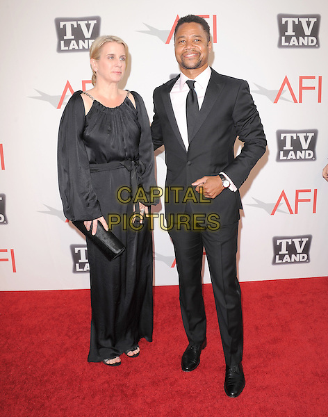 Cuba Gooding Jr. (R)  and wife.at TV Land's 2011 AFI Lifetime AChievement Award Honoring Morgan Freeman held at Sony Picture Studios in Culver City, California, USA, .June 9th 2011..full length black suit tie white shirt dress long maxi couple .CAP/RKE/DVS.©DVS/RockinExposures/Capital Pictures.
