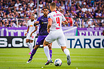 11.08.2019, Stadion an der Bremer Brücke, Osnabrück, GER, DFB Pokal, 1. Hauptrunde, VfL Osnabrueck vs RB Leipzig, DFB REGULATIONS PROHIBIT ANY USE OF PHOTOGRAPHS AS IMAGE SEQUENCES AND/OR QUASI-VIDEO<br /> <br /> im Bild | picture shows:<br /> Etienne Amenyido (VfL Osnabrueck #14) im Duell mit Willi Orban (RB Leipzig #4), <br /> <br /> Foto © nordphoto / Rauch