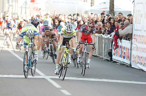 2010, Classica Sarda Cycling in Sardegna Italy, Liquigas, Feb 28, Radioshack, Feb 28, Visconti Giovanni, Sabatini Fabio, Lequatre Geoffroy, Olbia..Photo: Sirotti/Actionplus. Editorial Use.