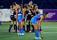 Dejected Argentina players during the World Hockey League quarter final match between Argentina and New Zealand. North Harbour Hockey Stadium, Auckland, New Zealand. Wednesday 22 November 2017. Photo:Simon Watts / www.bwmedia.co.nz